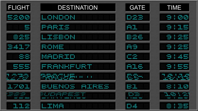 аэропорт отправления доска-синий - табло вылетов и прилётов стоковые видео и кадры b-roll