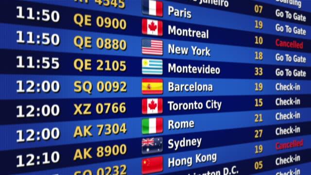 Tableau des départs de l'aéroport. Orange et bleue. - Vidéo