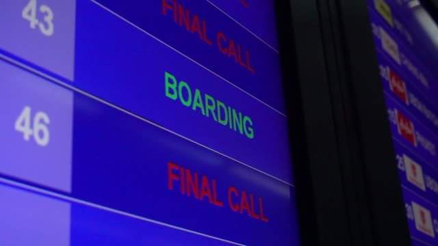 Airport departure board Airport departure board on digital LED TV goodbye single word stock videos & royalty-free footage