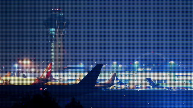 LAX Airport Jets LED Pixelated (Time-lapse) video