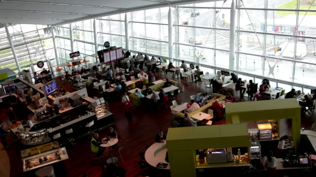 Airport restaurant Airport restaurant from above.,,,,,, cafeteria stock videos & royalty-free footage