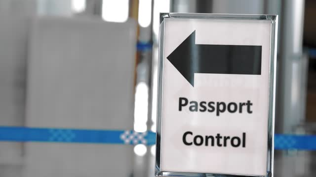 Airport sign. passport control. signpost at the airport Airport sign. passport control. signpost at the airport schengen agreement stock videos & royalty-free footage