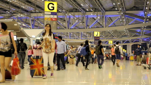Airport terminal hall. Walking travelers video