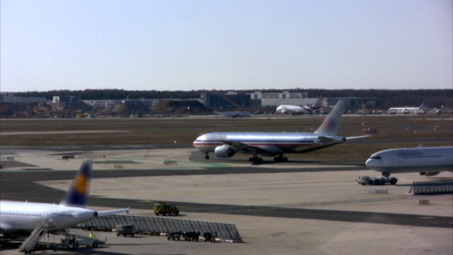 Airport timelapse, jets heading to take-off position (HD, PAL, NTSC) video