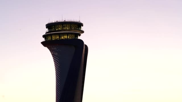 Airport Tower at Sunset Aerial View 2