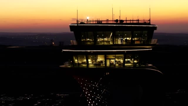 Airport Tower at Sunset Aerial View 3