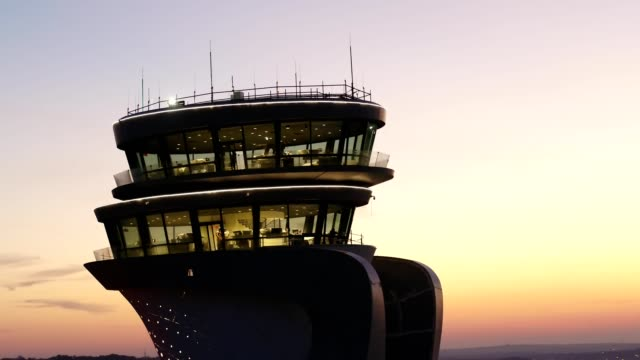Airport Tower at Sunset Aerial View