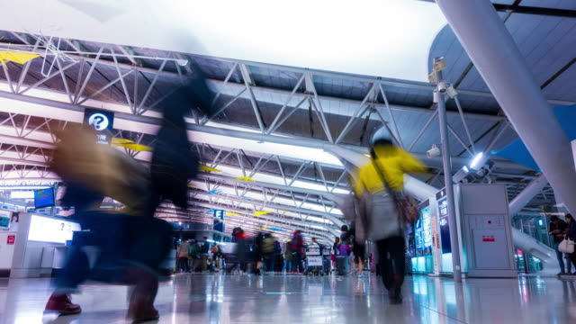 4K Airport Travelers Time Lapse at Kansai Airport Departure Terminal Japan video
