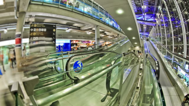Airport Travelers Time Lapse Bangkok Fisheye video