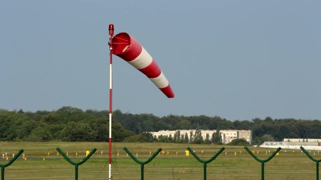 Airport windsock on the runway video