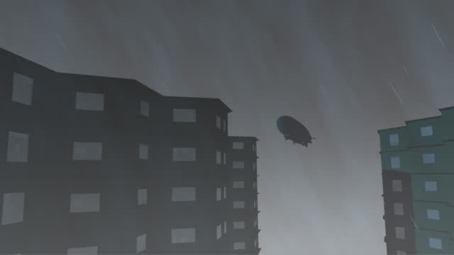 Airship over skyscrapers in bad wether. 3d render video