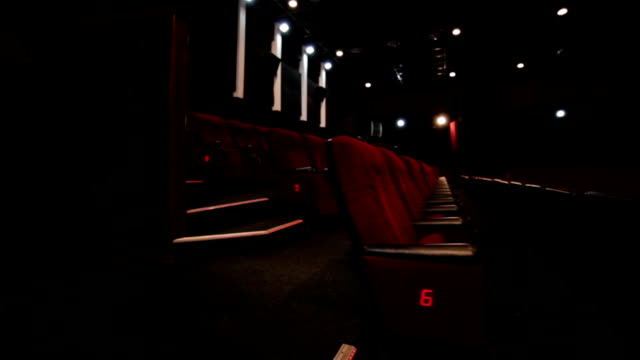 Aisle in red cinema hall video