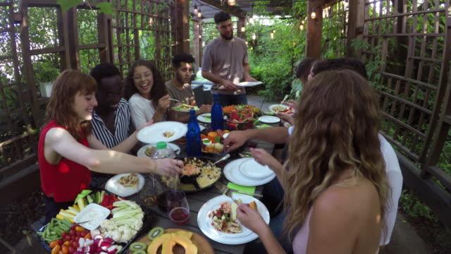 açık açık havada yemek yaz genç yetişkin çok etnik grup - bahçe ekipmanları stok videoları ve detay görüntü çekimi