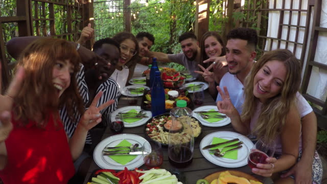 al fresco outdoor meal summer young adults multi ethnic group - anniversario video stock e b–roll