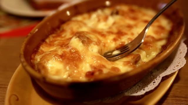 "Al gratin Pasta "" al gratin"" in restaurant, Italian Cuisine. macaroni stock videos & royalty-free footage"