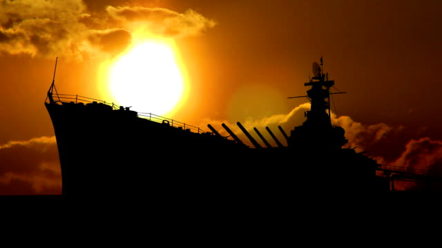 USS Alabama sunset video