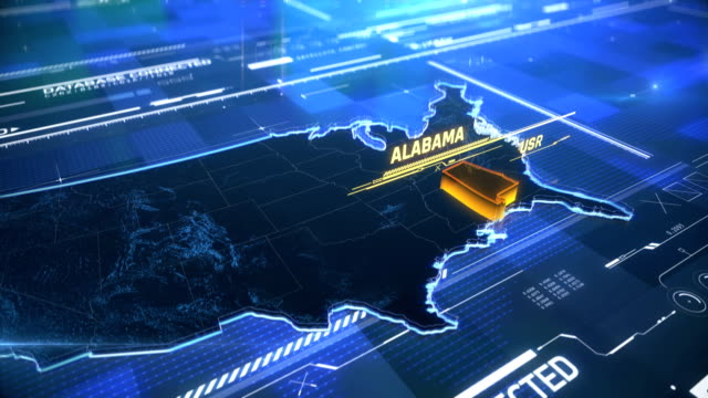 Alabama US state border 3D modern map with a name, region outline Alabama US state border 3D modern map with a name, region outline civil rights stock videos & royalty-free footage