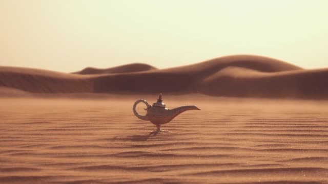 Aladdin magic lamp on a desert. Strong wind in the desert. Aladdin magic lamp on a desert. Strong wind in the desert. desire stock videos & royalty-free footage