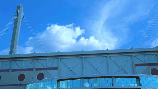 alamodome stadium low angle view panning video - san antonio texas stock videos & royalty-free footage