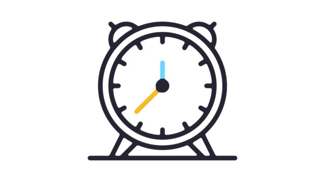 alarm clock line icon animation with alpha - timeline filmów i materiałów b-roll