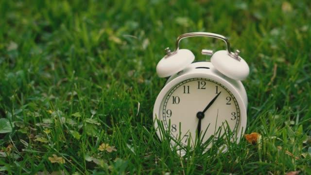 Alarm clock ringing alarm on the lawn Alarm clock ringing alarm on the lawn daylight savings stock videos & royalty-free footage