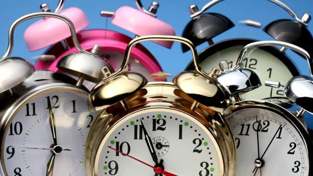 Alarm clocks ringing video