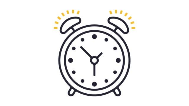 larm linje ikonen animation - alarm clock bildbanksvideor och videomaterial från bakom kulisserna