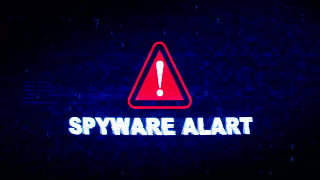 spyware alart  text digital noise twitch glitch distortion effect error animation. - клавишная панель стоковые видео и кадры b-roll