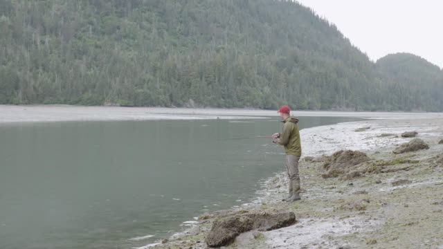UHD 4K: Alaska fisherman fishing with a pole video