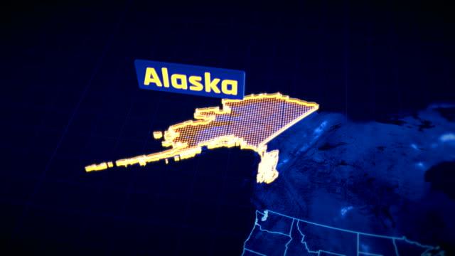 us alaska state border 3d visualization, modern map outline, travel - alaska stato usa video stock e b–roll