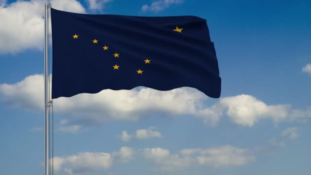 alaska state flag in wind against cloudy sky - alaska stato usa video stock e b–roll