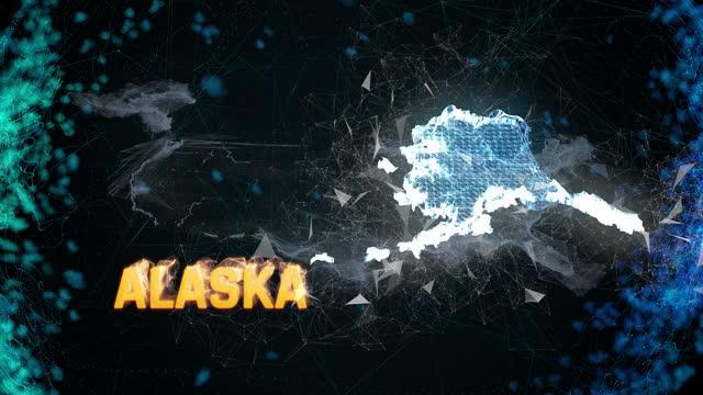 alaska stati uniti stato federale schema mappa, eventi di notizie, exit poll, avvistamenti - alaska stato usa video stock e b–roll