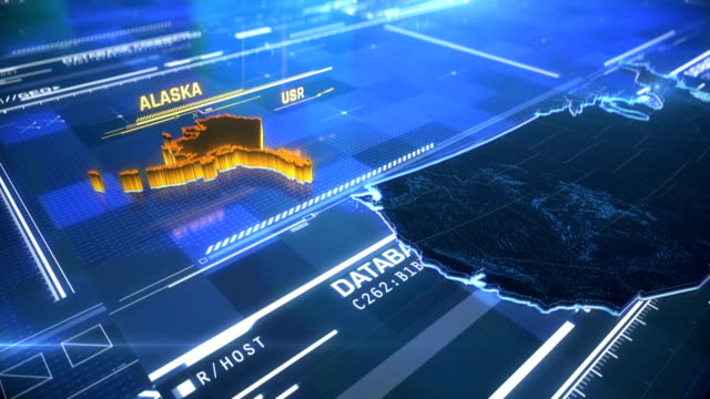 alaska us state border 3d modern map with a name, region outline - alaska stato usa video stock e b–roll