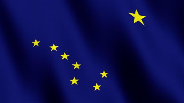 alaska bandiera di stato americano - alaska stato usa video stock e b–roll