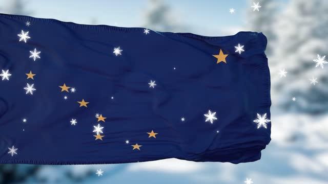Alaska winter snowflakes flag background. United States of America