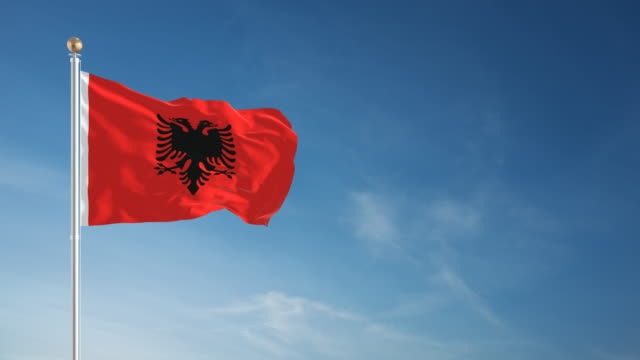 4K Albania Flag - Loopable video