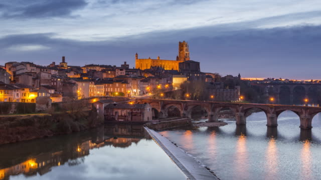 Albi, France during the Blue Hour video