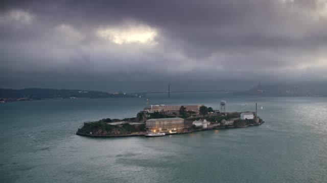 AERIAL Alcatraz Island at dusk