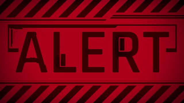 vidéos et rushes de texte du message d'avertissement rouge d'alerte à l'écran, interface glitchy, violation du système - danger
