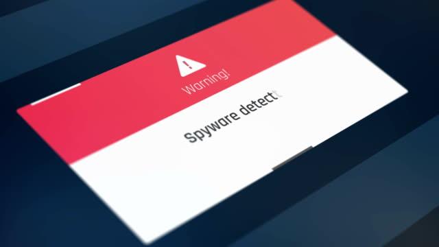 Alert text on screen, spyware detected, system breach, starting antivirus