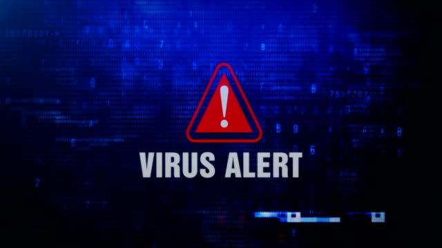vídeos de stock e filmes b-roll de virus alert alert warning error message blinking on screen . - vírus informático