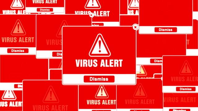 vídeos de stock e filmes b-roll de virus alert alert warning error pop-up notification box on screen. - vírus informático