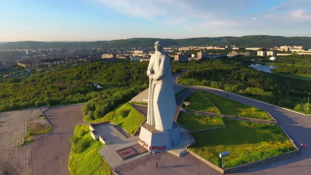 Alesha memorial - Murmansk city view from the top. video