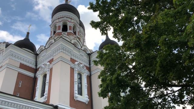 estonya'daki alexander nevsky katedrali - estonya stok videoları ve detay görüntü çekimi