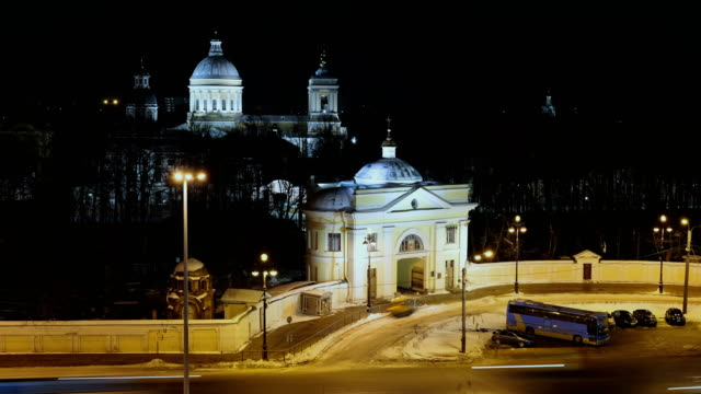 Alexander Nevsky Lavra and night traffic in Saint Petersburg video