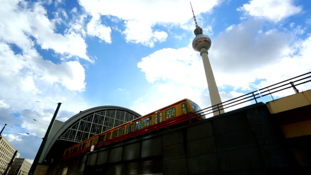 Alexanderplatz with S-Bahn and TV Tower in Berlin, Realtime video
