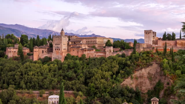 Alhambra palace on top of the hill 4K timelapse, Granada, Andalucia, Spain
