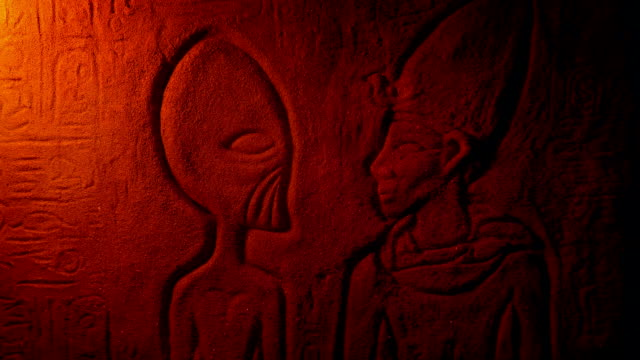 Alien Egyptian Wall Carving In Dusty Tomb video