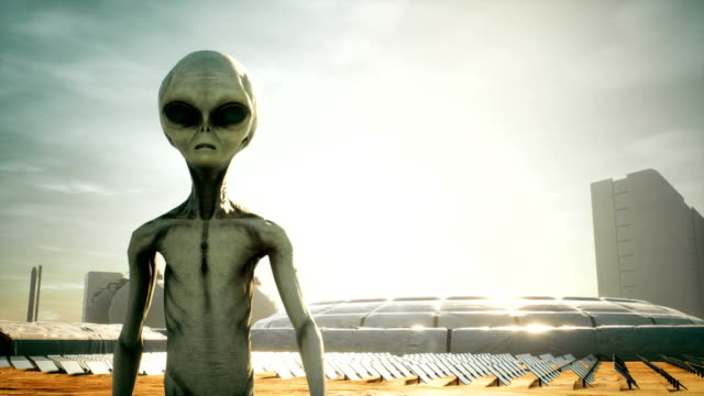 alien returns to base after inspecting solar panels. super realistic concept. - alieno video stock e b–roll