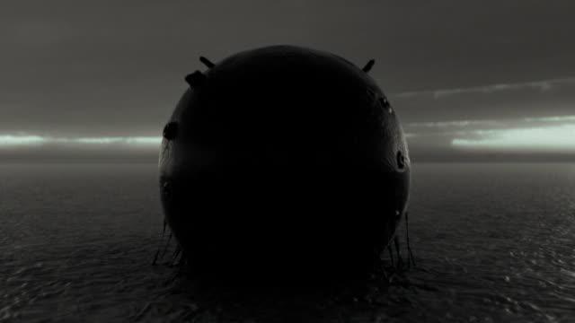Alien sphere, fantasy landscape, embryo or egg. Long shot. video